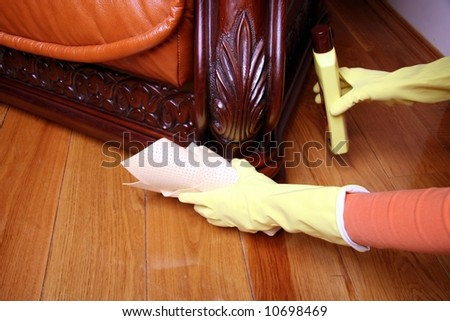 Cleaning the sofa.