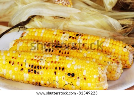 Cleaning three freshly roasted ears of corn on cob with shucked husks in background.