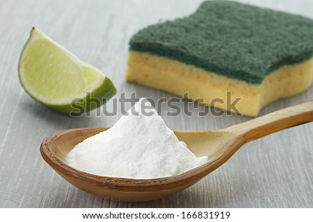 cleaning tools and sodium bicarbonate for house cleaning healthy lifestyle