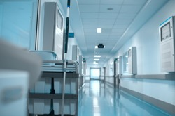 Cleaning trolley in the corridor of the hospital.