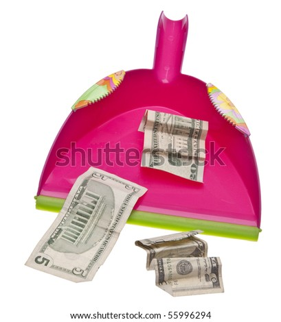 Cleaning Up the Budget Money Conceptual Image.  Isolated on White with a Clipping Path.