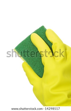 cleaning with sponge isolated against white background - stock photo