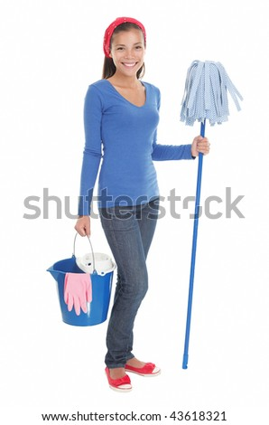 Cleaning woman happy and satisfied standing in full length with a mop on seamless white background. Beautiful mixed race chinese / caucasian model.
