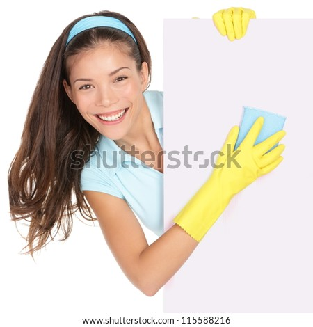 Cleaning woman showing sign poster cleaning isolated on white background. Smiling happy multiracial Chinese Asian / Caucasian cleaning lady