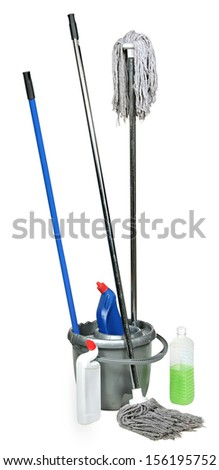 cleanser and to mop a floor . Swab and bucket isolated on white background