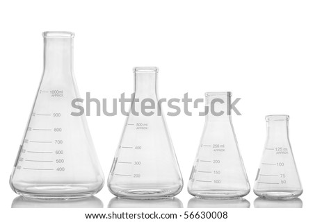 Clear and empty laboratory glass conical Erlenmeyer flasks of assorted sizes in a row for an experiment in a science research lab over white
