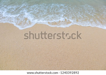 Clear beach and golden sand with beautiful waves are used as a background for the designs. #1240392892