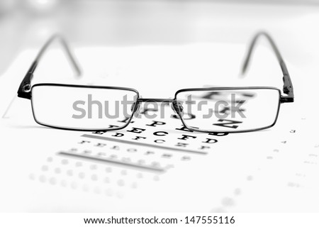 Clear Black modern glasses on a eye sight test chart.