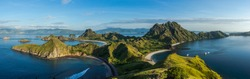 Clear blue sky and sea at Padar island, Flores, Indonesia