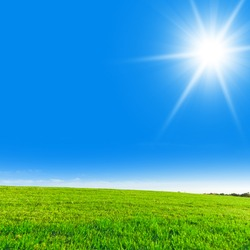 Clear Blue Sky Sun in the Sky