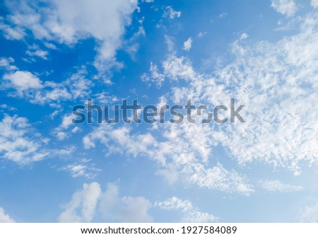 Clear blue sky with a few white clouds Photo stock ©