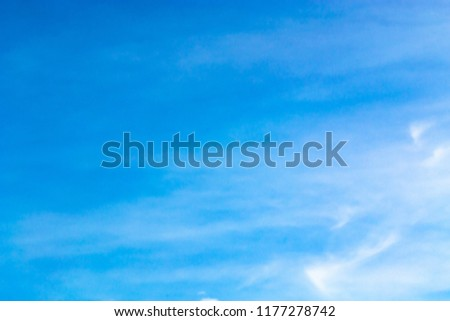 clear blue sky with plain white cloud with space for text. #1177278742