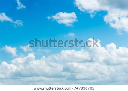 clear blue sky with plain white cloud with space for text background.