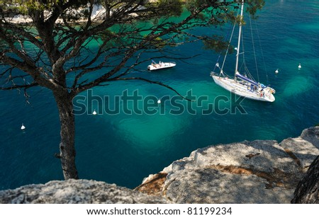 Clear blue water in the calanque of Cassis, Mediterranean France