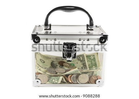 Clear box filled with money