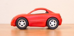 Clear colored small car toy, selective focus