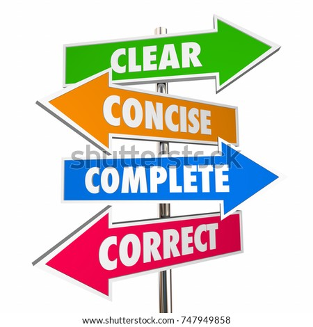 Clear Concise Complete Correct Communication 4 Arrow Signs 3d Illustration