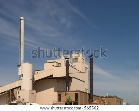 Clear crisp blue sky shows environmental awareness and concern of power plant operators