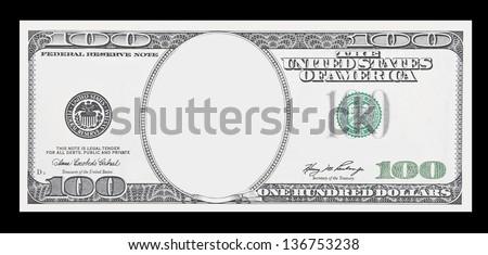 Clear 100 dollar banknote