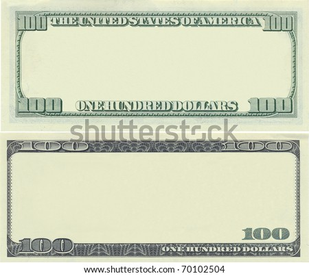 Clear 100 dollar banknote template for design purposes   EZ Canvas