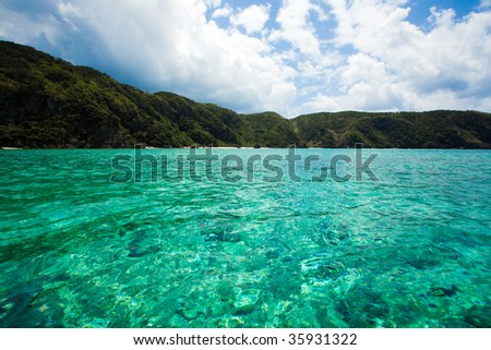 Clear emerald green waters of tropical Japan