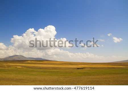 Clear Field after hay, the nature of the Lesser Caucasus