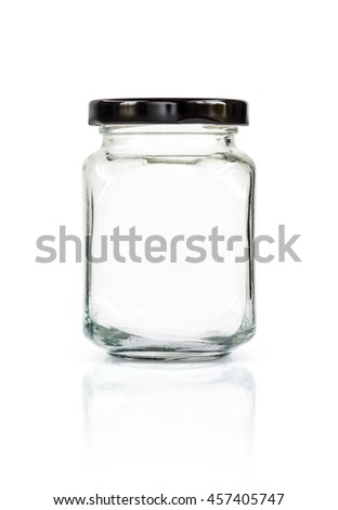 Clear glass bottle with black cap isolated on white background with clipping path