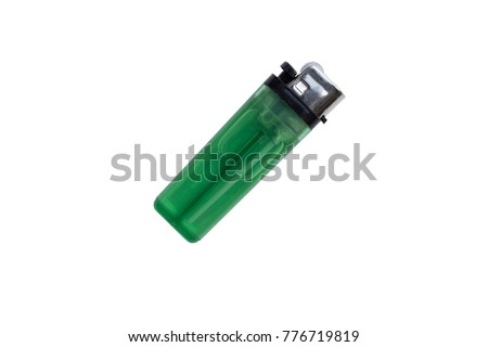 Clear Green plastic gas lighter. Gas lighter isolated on white background with clipping part for design. lighter - Shutterstock ID 776719819