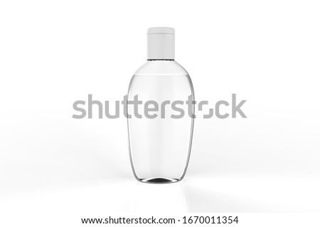 Clear hand sanitizer in a clear bottle isolated on a white background. Hand sanitizer is used for killing germs, bacteria and viruses. 3d illustration