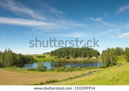 Clear Lake in the Suwalki region Osinkach. Poland