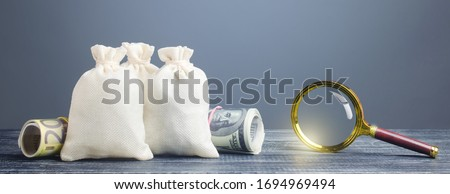 Clear money bags and magnifying glass. Financial monitoring of suspicious cash transactions. Search sources of financing projects. Profitable investment, dividends payouts. Reserve currency Stock photo ©