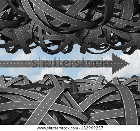 Clear path business success concept with a group of tangled and confused three dimensional roads and an individual highway shaped as an arrow breaking free from the clutter and moving forward. Stock photo ©