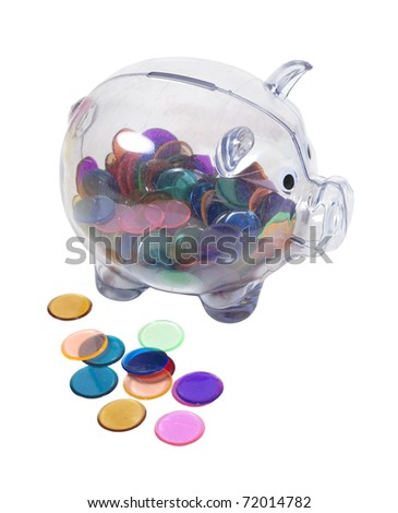Clear piggy bank full of colorful chips instead of money - path included
