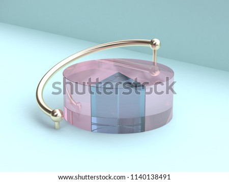 clear pink blue minimal abstract 3d rendering