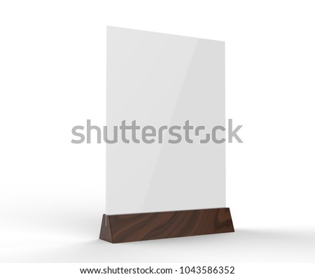 Clear plastic and acrylic  table talkers promotional upright menu table tent top sign holder table menu card display stand picture frame for mock up and template design. 3d render illustration.