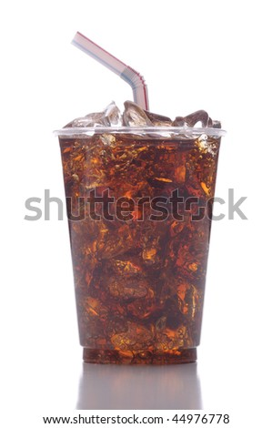 Clear Plastic Cup with Soda Ice and Straw isolated on white with reflection vertical format
