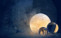 Clear quartz balls and moon lamp on dark background. Moon Ritual, modern magic, spiritual witchcraft practice
