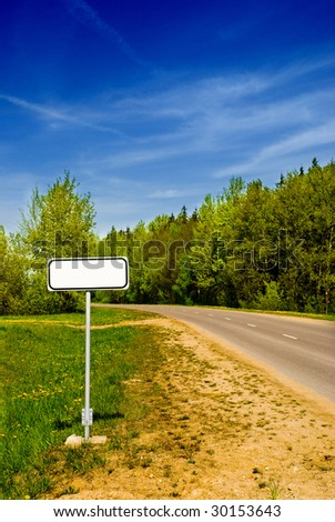 Clear sign in beautiful forest road