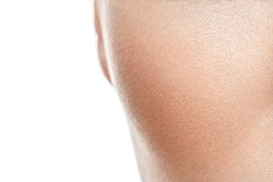 Clear skin texture. Woman cheek closeup view.