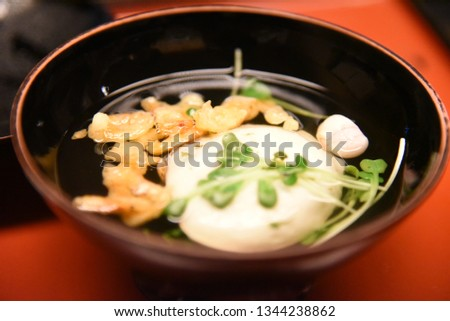 clear soup clear soup is Japanese traditional foods. Japanese people relax to eat clear soup.
