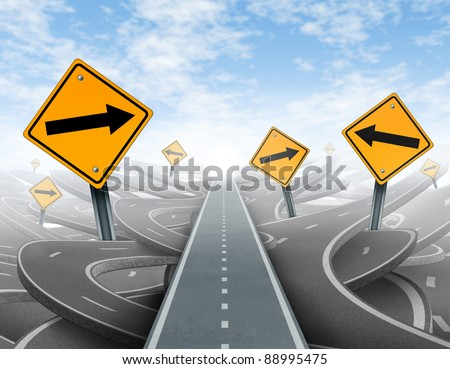 Clear strategy and solutions for business leadership with a straight path to success choosing the right strategic path with yellow traffic signs cutting through a maze of tangled roads and highways. - stock photo