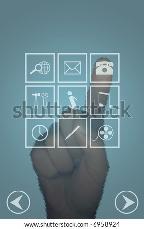 Clear touch screen with icons menu and hand selecting phone