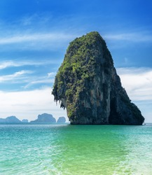 Clear water and blue sky. Phra Nang beach, Thailand.