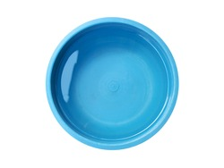 clear water and reflection in blue small plastic basin isolated on white background, close up top view