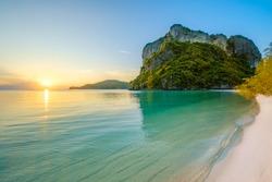 clear water beach and warm sunshine at kang thung bay ,koh Phaluai ,koh samui ,suratthani ,thailand