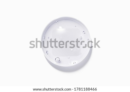 Clear water drop with label isolated on white background. 3D illustration