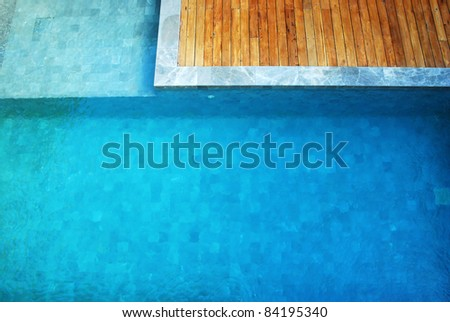 clear water in the swimming pool blue bright wood wooden