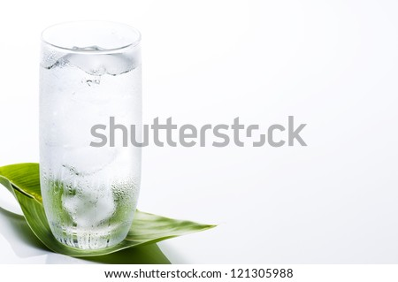 Clear water into the glass with fresh green leaf