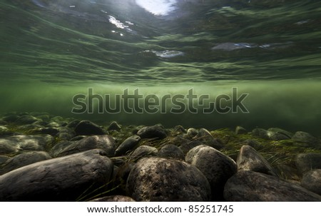 Clear water river and melting water river mixing under water, Sondrestrom (Kangerlussuaq), Greenland. #85251745