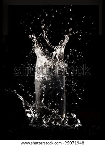 clear water splash on black background